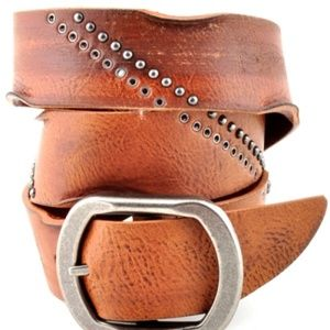 Accessories - Genuine Leather Studded Belt - Tan